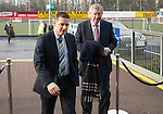 St Johnstone v Aberdeen.....07.12.13    SPFL<br /> Sir Alex Ferguson arrives at McDiarmid Park to watch today's game greetd by Chairman Steve Brown. He was invited by St Johnstone FC to mark the 50th anniversary of a famous game in the club's history when a young 'Fergie' scored hat-trick against Rangers at Ibrox on the 21st December 1963. Saints winning the game 3-2<br /> Picture by Graeme Hart.<br /> Copyright Perthshire Picture Agency<br /> Tel: 01738 623350  Mobile: 07990 594431
