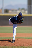 San Diego Padres pitcher Ronald Bolanos (77) follows through on his delivery during an Instructional League game against the Milwaukee Brewers on September 27, 2017 at Peoria Sports Complex in Peoria, Arizona. (Zachary Lucy/Four Seam Images)