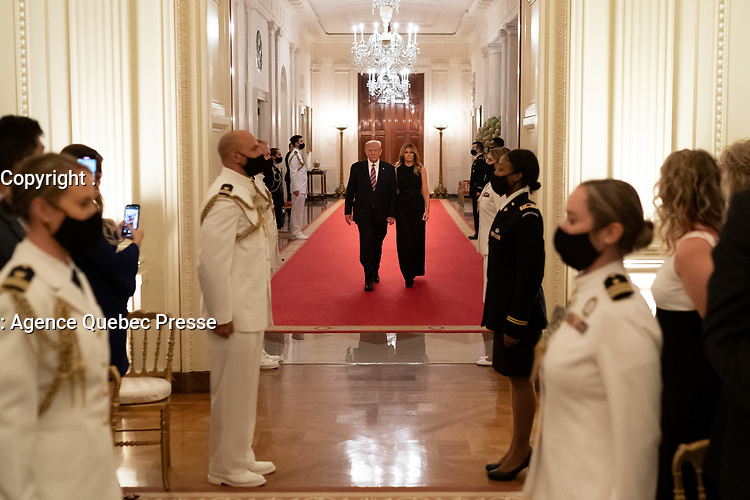 White House Reception to Honor Gold Star Families<br /> <br /> President Donald J. Trump and First Lady Melania Trump arrive to a reception in honor of Gold Star families Sunday, Sept. 27, 2020, in the East Room of the White House. (Official White House Photo by Andrea Hanks)
