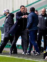 1st May 2021; Easter Road, Edinburgh, Scotland; Scottish Premiership Football, Hibernian versus St Johnstone;  Jack Ross Hibernian Manager and Callum Davidson St Johnstone Manager at full time