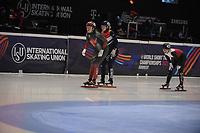 SPEEDSKATING: DORDRECHT: 06-03-2021, ISU World Short Track Speedskating Championships, Final B 500m Ladies, Xandra Velzeboer (NED), Nicole Mazur (POL), Courtney Sarault (CAN), ©photo Martin de Jong
