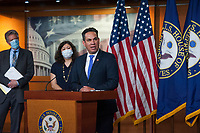 Rep. Pete Aguilar (D-Calif.) offers remarks as he joins House Speaker Nancy Pelosi (D-Calif) during a press conference on the Trump Administration's response to, and House Democrats' plan for COVID-19 testing in the House Visitors Center Studio at the U.S. Capitol in Washington, DC, Wednesday, May 27, 2020. Credit: Rod Lamkey / CNP/AdMedia
