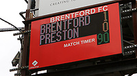 The scoreboard shows the final score and another victory for Brentford during Brentford vs Preston North End, Sky Bet EFL Championship Football at Griffin Park on 15th July 2020