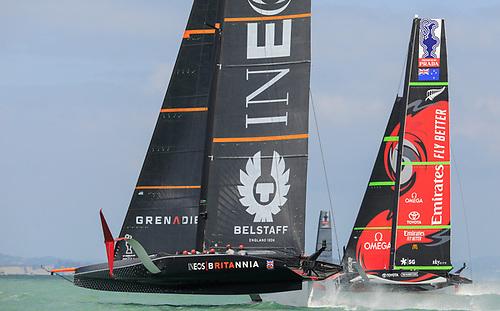 INEOS TEAM UK to windward of Emirates Team New Zealand beat  Photo: COR36 / Studio Borlenghi