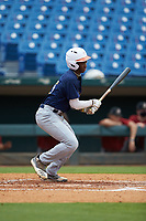 Thad Ector (15) of Starr's Mill HS in Tyrone, GA playing for the Milwaukee Brewers scout team during the East Coast Pro Showcase at the Hoover Met Complex on August 2, 2020 in Hoover, AL. (Brian Westerholt/Four Seam Images)