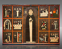 Gothic painted Panel of the life of Saint Dominic, anonymous artist from Aragon. Tempera and varnished metal plate on wood. First quarter of 14th century. 134 x 193 x 8.3 cm. From the church of Sant Miquel de Tamarit de Llitera (Huesca). National Museum of Catalan Art, inv no: 015825-000