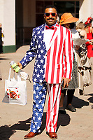 1st May 2021; Kentucky, USA;  A fan wears his American Flag suit during the 147th running of the Kentucky Derby on May 01st, 2021 at Churchill Downs in Louisville,  Kentucky, USA.