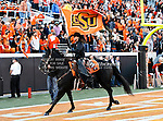 Oklahoma State Cowboys mascot, Bullet, in action during the game between the Baylor Bears and the Oklahoma State Cowboys at the Boone Pickens Stadium in Stillwater, OK. Oklahoma State defeats Baylor 59 to 24.