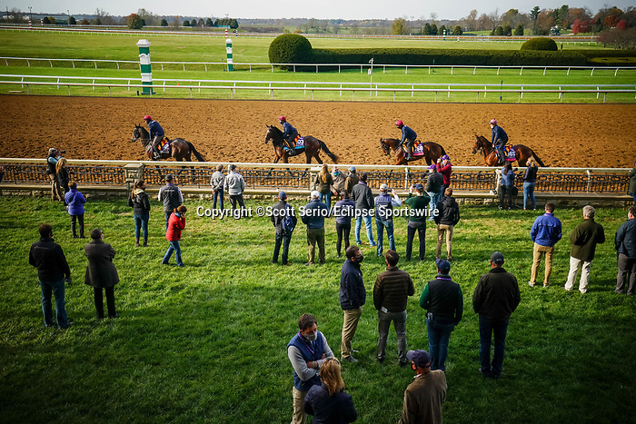 November 5, 2020: Attendees enjoys the trackside marquee at Keeneland Racetrack in Lexington, Kentucky on November 5, 2020. Scott Serio/Eclipse Sportswire/Breeders Cup/CSM