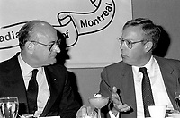 May 28, 1985 File Photo - Jean DeGranpre, president and chief executive officer of Bell Canada Enterprises Inc speak the Canadian Club of Montreal