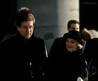 Le premier Ministre Robert Bourassa et son epouse au funerailles de  Jeanne Sauve, le 31 janvier 1993, a la Basilique Marie-Reine-du-Monde.<br /> <br /> Photo:  Agence Quebec Presse