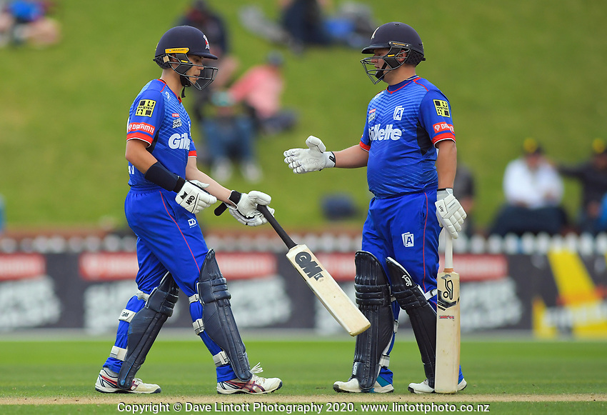 Auckland's Mark Chapman (left) and Craig Cachopa during the Dream11 Super Smash women's cricket match between the Wellington Blaze and Auckland Hearts at Basin Reserve in Wellington, New Zealand on Sunday, 12 January 2020. Photo: Dave Lintott / lintottphoto.co.nz
