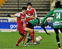 Cercle Brugge KSV - KV Kortrijk : Rami Gershon in duel met Igor Vetokele om de bal.foto VDB / BART VANDENBROUCKE