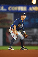 Mississippi Braves shortstop Daniel Castro (20) during a game against the Mobile BayBears on April 28, 2015 at Hank Aaron Stadium in Mobile, Alabama.  The game was suspended after the top of the second inning with Mobile leading 3-0, the BayBears went on to defeat the Braves 6-1 the following day.  (Mike Janes/Four Seam Images)