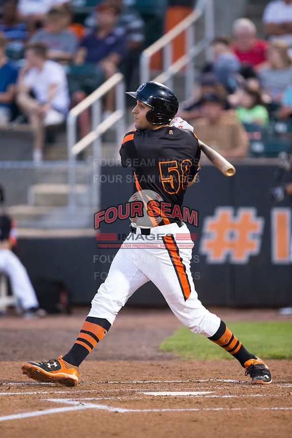 Ryan Ripken (58) of the Aberdeen IronBirds follows through on his swing against the Hudson Valley Renegades at Leidos Field at Ripken Stadium on July 27, 2017 in Aberdeen, Maryland.  The IronBirds defeated the Renegades 3-0 in game two of a double-header.  (Brian Westerholt/Four Seam Images)