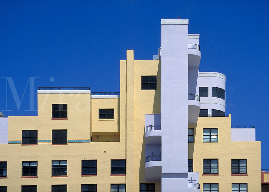 Striking lines and colors as seen from Collins Avenue. 1330 Ocean Dr., M. Beach FL USA.