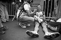 post finish recuperation for Jens Voigt (DEU)<br /> <br /> Tour de France 2013<br /> stage 18: GAP to ALPE-D'HUEZ 172,5k