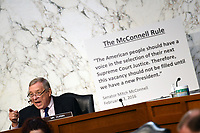 United States Senate Minority Whip Dick Durbin (Democrat of Illinois) speaks during a Senate Judiciary Committee confirmation hearing on the nomination of Amy Coney Barrett for Associate Justice of the Supreme Court, on Capitol Hill in Washington, DC on Thursday, October 15, 2020.  If confirmed, Barrett will replace Justice Ruth Bader Ginsburg, who died last month. <br /> Credit: Kevin Dietsch / Pool via CNP /MdeiaPunch