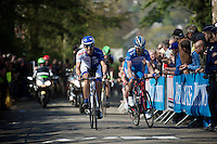 Jérôme Baugnies (BEL/Wanty-Groupe Gobert) & Daniele Rato (ITA/United Healthcare) are the last survivors of the early breakaway group up the 2nd ascent of the Mur de Huy (1300m/9.8%)<br /> <br /> 79th Flèche Wallonne 2015