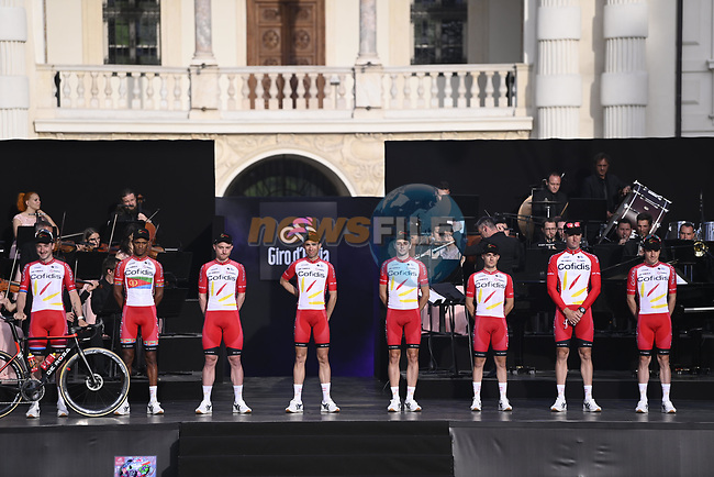 Cofidis on stage at team presentation of the 2021 Giro d'Italia inside the Cortile d'Onore of the Castello del Valentino, on the occasion of the 160th anniversary of the Unification of Italy, Turin, Italy. 6th May 2021.  <br /> Picture: LaPresse/Fabio Ferrari | Cyclefile<br /> <br /> All photos usage must carry mandatory copyright credit (© Cyclefile | LaPresse/Fabio Ferrari)