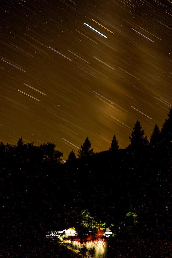 Upper Falls Campsite & Star Trails, Clear Creek Ranch, French Gulch, California, US
