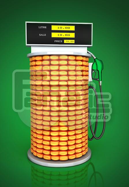Illustrative image of corn fuel pump representing go green concept