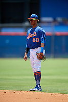 GCL Mets second baseman Sebastian Espino (60) during a game against the GCL Marlins on August 3, 2018 at St. Lucie Sports Complex in Port St. Lucie, Florida.  GCL Mets defeated GCL Marlins 3-2.  (Mike Janes/Four Seam Images)