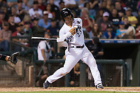 AFL West second baseman Keston Hiura (23), of the Peoria Javelinas and Milwaukee Brewers organization, swings at a pitch during the Arizona Fall League Fall Stars game at Surprise Stadium on November 3, 2018 in Surprise, Arizona. The AFL West defeated the AFL East 7-6 . (Zachary Lucy/Four Seam Images)