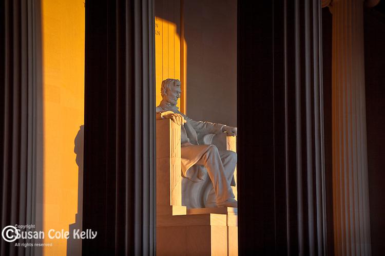 Golden sunrise light illuminated the Lincoln Memorial, Washington, DC, USA