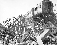 The London Necropolis Railway Station, privately owned station in Westminster Bridge Road, after London's biggest night raid of the war.  Ca. 1941.  New Times Paris Bureau Collection.  (USIA)<br /> Exact Date Shot Unknown<br /> NARA FILE #:  306-NT-901-72<br /> WAR & CONFLICT BOOK #:  1012