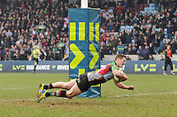 20130309 Copyright onEdition 2013©.Free for editorial use image, please credit: onEdition..Tom Williams of Harlequins dives over to score a try  during the LV= Cup semi final match between Harlequins and Bath Rugby at The Twickenham Stoop on Saturday 9th March 2013 (Photo by Rob Munro)..For press contacts contact: Sam Feasey at brandRapport on M: +44 (0)7717 757114 E: SFeasey@brand-rapport.com..If you require a higher resolution image or you have any other onEdition photographic enquiries, please contact onEdition on 0845 900 2 900 or email info@onEdition.com.This image is copyright onEdition 2013©..This image has been supplied by onEdition and must be credited onEdition. The author is asserting his full Moral rights in relation to the publication of this image. Rights for onward transmission of any image or file is not granted or implied. Changing or deleting Copyright information is illegal as specified in the Copyright, Design and Patents Act 1988. If you are in any way unsure of your right to publish this image please contact onEdition on 0845 900 2 900 or email info@onEdition.com