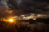 Sunset Over Sechelt Inlet, West Coast Wilderness Lodge, Egmont, Sunshine Coast, British Columbia, Canada