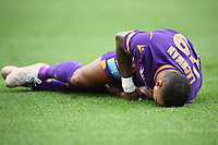 30th May 2021; Auckland, New Zealand;  Daryl Lachman goes down with an injury. Wellington Phoenix versus Perth Glory, A-League football at Eden Park.