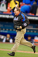 3 April 2006: Gary Carter, Hall of Fame catcher, celebrates a re-creation of the final out of the 1986 Mets World Series during pre-game ceremony with pitcher Jesse Orosco prior to the Opening Day game against the Washington Nationals at Shea Stadium, in Flushing, New York. The Mets defeated the Nationals 3-2 to lead off the 2006 MLB season...Mandatory Photo Credit: Ed Wolfstein Photo..