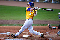 LSU Tigers first baseman Mason Katz #8 at bat during the NCAA baseball game against the Mississippi State Bulldogs on March 18, 2012 at Alex Box Stadium in Baton Rouge, Louisiana. LSU defeated Mississippi State 4-2. (Andrew Woolley / Four Seam Images).