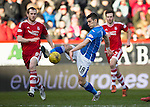 Aberdeen v St Johnstone…27.02.16   SPFL   Pittodrie, Aberdeen<br />Graham Cummins and Mark Reynolds<br />Picture by Graeme Hart.<br />Copyright Perthshire Picture Agency<br />Tel: 01738 623350  Mobile: 07990 594431
