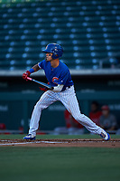 AZL Cubs 1 Ezequiel Pagan (1) squares to bunt during an Arizona League game against the AZL Angels on June 24, 2019 at Sloan Park in Mesa, Arizona. AZL Cubs 1 defeated the AZL Angels 12-0. (Zachary Lucy / Four Seam Images)