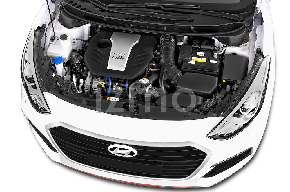 Car stock 2015 Hyundai I30 Turbo 3 Door Hatchback engine high angle detail view