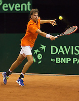 September 12, 2014, Netherlands, Amsterdam, Ziggo Dome, Davis Cup Netherlands-Croatia, Robin Haase (NED)<br /> Photo: Tennisimages/Henk Koster