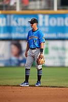 Akron RubberDucks second baseman Mark Mathias (12) during a game against the Harrisburg Senators on August 18, 2018 at FNB Field in Harrisburg, Pennsylvania.  Akron defeated Harrisburg 5-1.  (Mike Janes/Four Seam Images)