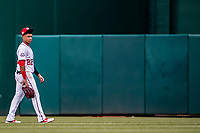 26 September 2018: Washington Nationals outfielder Juan Soto takes a moment during a pitching change during play against the Miami Marlins at Nationals Park in Washington, DC. The Nationals defeated the visiting Marlins 9-3, closing out Washington's 2018 home season. Mandatory Credit: Ed Wolfstein Photo *** RAW (NEF) Image File Available ***