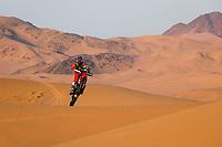 4th January 2021; Dakar Rally stage 2;  47 Benavides Kevin (arg), Honda, Monster Energy Honda Team 2021, Motul, Moto, Bike, action during the 2nd stage of the Dakar 2021 between Bisha and Wadi Al Dawasir, in Saudi Arabia on January 4, 2021