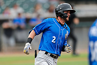 Biloxi Shuckers shortstop Brice Turang (2) hustles to first base against the Tennessee Smokies on May 18, 2021, at Smokies Stadium in Kodak, Tennessee. (Danny Parker/Four Seam Images)
