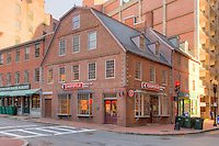 The historic Old Corner Bookstore on the corner of Washington and School Streets in Boston, Massachusetts.  The building, on the Freedom Trail, has had many uses and occupants since it was rebuilt in 1712.