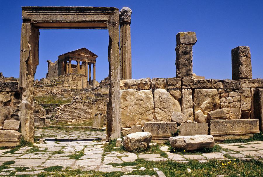 "Tunisia, Dougga.  Roman Ruins.  The Capitol, seen through the door of the ""Unnamed Temple."""