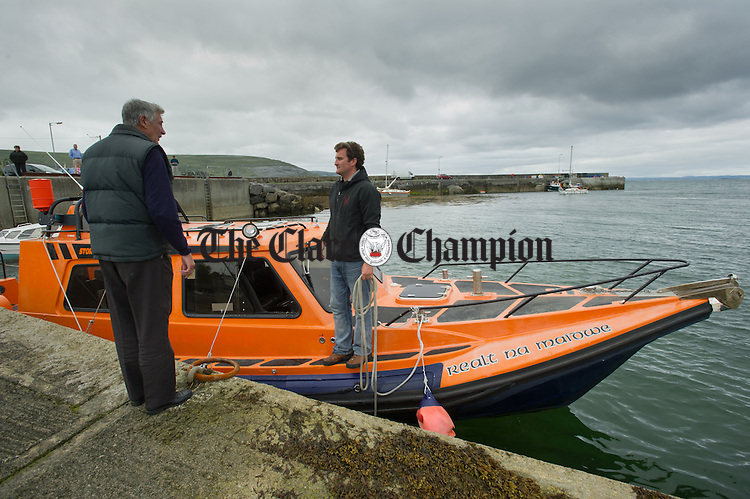 Liam O Brien arrives with the boat at the launch of the Ballyvaughan Bay Hop. Photograph by John Kelly.