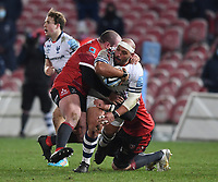 12th February 2021; Kingsholm Stadium, Gloucester, Gloucestershire, England; English Premiership Rugby, Gloucester versus Bristol Bears; John Afoa of Bristol Bears looks for an offload out of the tackle by Alex Seville of Gloucester