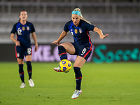 ORLANDO, FL - FEBRUARY 24: Julie Ertz #8 of the USWNT controls the ball during a game between Argentina and USWNT at Exploria Stadium on February 24, 2021 in Orlando, Florida.