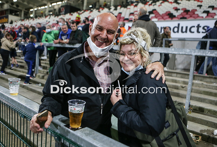 Friday 24th September 2021<br /> <br /> Ulster Rugby supporters back at the Kingspan Stadium  during the URC Round 1 clash between Ulster Rugby and Glasgow Warriors at Kingspan Stadium, Ravenhill Park, Belfast, Northern Ireland. Photo by John Dickson/Dicksondigital