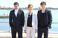 Alexej Manvelov, Adam Palsson et Marie Richardson posent lors du photocall de BEFORE WE DIE pendant le MIPTV a Cannes, le lundi 3 avril 2017.